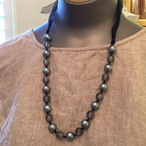 Jewelry - Voile ribbon net over glass bead necklace perfect
